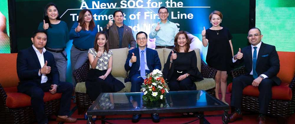 MSD in the Philippines team joins oncology expert Prof. Byoung-Chul Cho, MD, PhD, at the announcement of pembrolizumab as an approved targeted immunotherapy drug for the first-line treatment for non–small-cell lung cancer